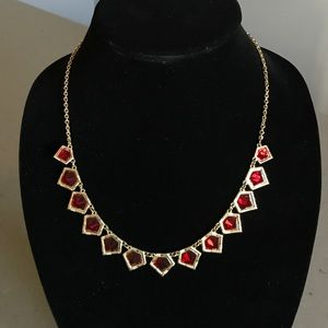 🆕Red Gemstone Necklace with Gold-Toned Metal